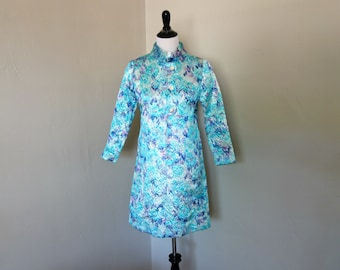 Vintage 1960s Dress and Jacket, 1960s Handmade Vogue Americana Dress, Long Jacket in Metallic Silver, Blue, Pink, Purple, Rhinestone Buttons