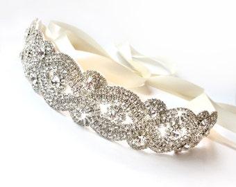 Lovely Rhinestone Bridal Belt Sash - Custom Satin Ribbon - Rhinestone Appliqué - Silver Wedding Dress Belt - Extra Long