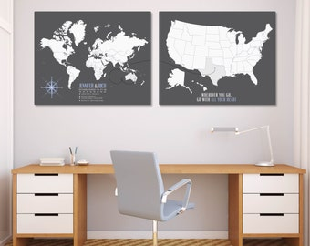 Push Pin Canvas World Travel Map Set, Long Distance Map, Travel Map Personalized, Map Sets, Map Print, World Map Poster // H-I21-2PS AA4 06P