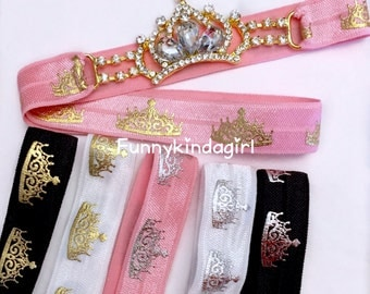 Princess Crown Rhinestone Connector Headband Tiara Pink Black White Gold Silver Metallic Foil Elastic Kids Baby Women Queen Sparkly Bling