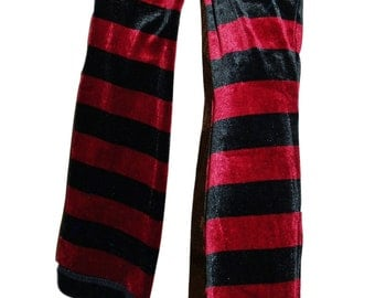 Long Arm Warmers Arm Covers Black Red Stripes