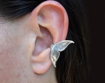 Whale Tail Ear Cuff Whale Ear Cuff Whale Tail Jewelry Whale Jewelry Whale Art Silver Ear Cuff Dolphin Tail Ocean Jewelry Dolphin Jewelry