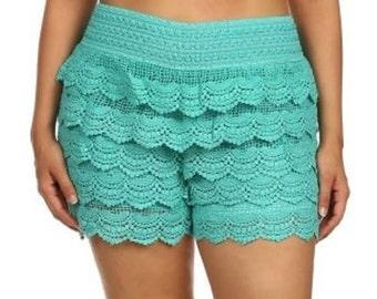 Plus Size Shorts Lace Crochet Scalloped Shorts Cream  Mint Brown