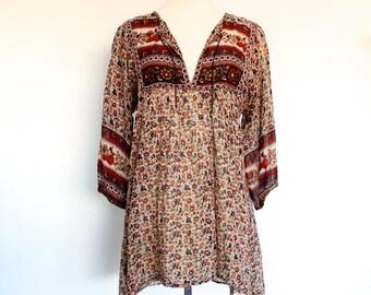 70s Vintage Geeta Indian India Sheer Cotton Gypsy Gauze Festival Boho Hippie Blouse Top Shirt . XS-SM . D010 . 1144.3.8.16