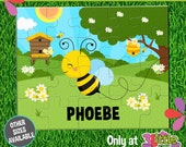 """Busy Bees Puzzle - Personalized 8 x 10"""" Puzzle - Personalized Name Puzzle - Personalized Children Puzzle - Personalized Bee Puzzle"""