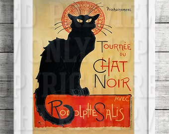 Le Chat Noir, Vintage French Poster, theophile alexandre steinlen tournee du chat noir, digital art print, printable art, wall art, poster