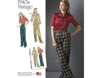 1940's Vintage Sportswear Sewing Pattern for Blouse, Hip Length Vest & Pleated Trouserst -Simplicity 8243 US Sizes: 6 - 14 or 16 - 24