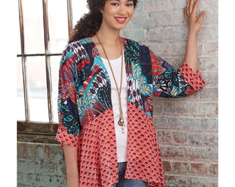 Woman's Kimono Jacket, Simplicity 8172 Misses' Kimonos with Length and Trim Variations- Easy to Sew Sewing pattern XSS-XXL new uncut