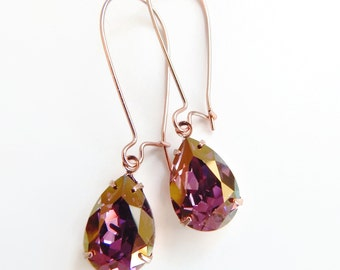 Purple rose gold earrings - bridesmaid jewelry