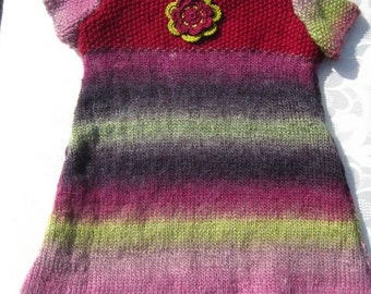 Hand knitted little girl's dress, 6 to 12 months