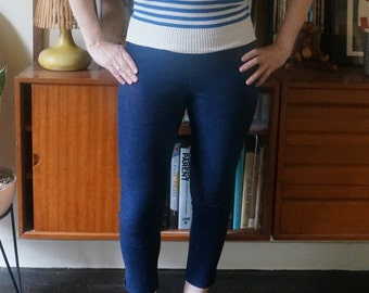 vintage striped knit top sweater short sleeves blue white nautical pin up bow tie