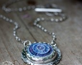 Sterling silver and blue Ceramic ocean inspired bohemian necklace  - Seascape -