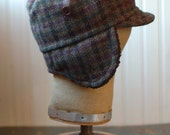 Woodsman XS: earflap hat in wool plaid, winter cap with wraparound ear flaps for kids or adult, upcycled hat, hipster army style winter hat