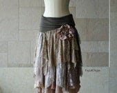 One of a kind bohemian hobo-chic tattered skirt / lace skirt - KS095