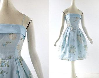 50s Party Dress   Flocked Rose Dress   1950s Dress   50s Prom Dress   XXXS