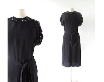 Vintage 1940s Dress / Strange Illusion / Studded Dress / Black 40s Dress / Small S