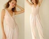 Lingerie Jumpsuit Vintage Pale Pink Sheer Lace Boudoir Negligee' Loungewear Jumpsuit (s m)