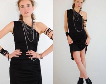 Little Black Bodycon Dress Vintage Black LA BELLE Asymmetrical One Shoulder Indie Glam Body Con Dress (s