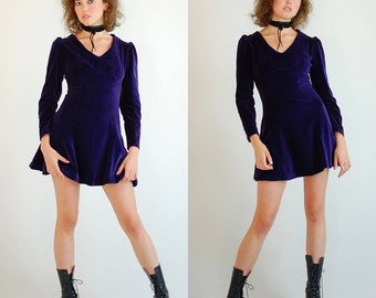 Velvet Mod Mini Dress Vintage 60s Plum Velvet Holiday Mod Micro Mini Dress (xs)