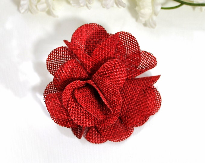 Burlap Hair Clip Red Hair Bow Burlap Hair Flower Red Flower Pin Hair Clip for Women