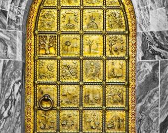 Brass Door at Bok Tower Gardens Florida Fine Art Print - Gothic, Antique, Historic, Golden, Design, Architecture, Home Decor
