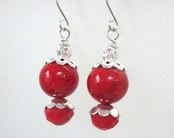 Red and Silver Earrings, Holiday Jewelry, Chunky Earrings, Red Beads, Beaded Dangle Earrings, Valentines Day Jewelry, Gift for Women