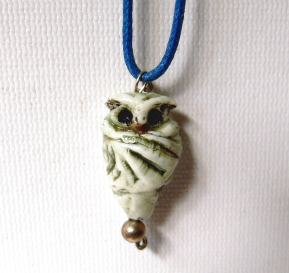 Ceramic Owl Charm with Sterling Silver Baail