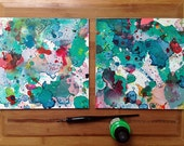 Diptych Painting, Abstract Watercolor Painting, Surreal Art, 8x8, Creepy Cute, Whimsical, Asian Inspired Art, Cute Art, Silly, Abstract Art