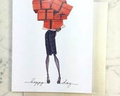 Individual Orange Boxes and Navy Tweed, Fashion Illustration Greeting Card