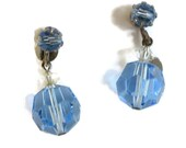 Vintage Blue and Clear Crystal Dangle Clip Earrings