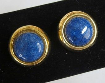 Vintage Blue Speckled Lucite Cabochon Button Earrings