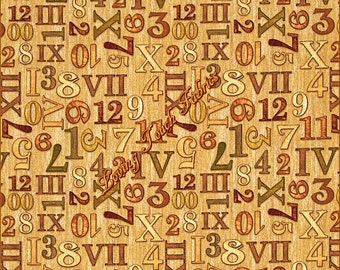 "Quilting Treasures & Dan Morris ""Timeless"" Numbers #24111-E  Cotton Fabric Priced Per 1/2 Yd."