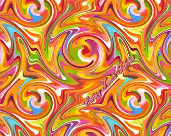 """Quilting Treasures """"Just Trippin"""" #24264-0 Orange Psychedelic Swirl Cotton Fabric 1/2 Yd."""