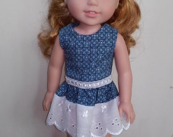 Blue & White Handmade Dress and Headband for Wellie Wishers Dolls