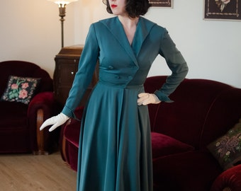 Vintage 1940s Dress - Smashing Teal Gabardine 50s Day Dress with Full Skirt, Winged Collar and V Shaped Button Closure