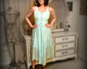 Vintage Mint Green Corset Bodice Dress - Size M