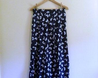 Vintage Navy High Waist Butterfly Print Maxi Skirt - Size M