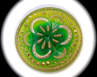 PAiR Czech Glass Buttons 27mm - 1 1/16 inch Lime Green Fairy Flower with Gold Luster Detailing - 2 Glass Buttons Reverse Painted GL12