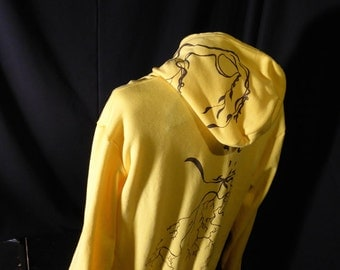 Sunshine Yellow - Zip Up XL Hoodie - Tree Roots with a thought of Lightning