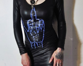 Hell Couture Sign Of Kish Wet Look Mini Dress