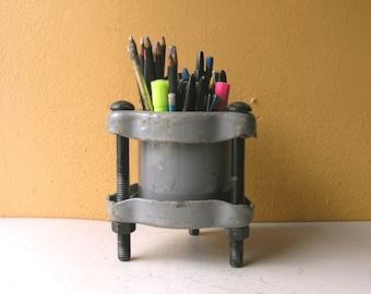 Metal Pencil Holder, Pencil Cup, Industrial Vessel, Pen Holder, Desk Accessory, Table Storage, Remote Holder, Desktop Organizer, Boyfriend