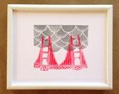 Hot Pink Golden Gate Bridge with Grey Fog 10x8 Linocut Art Print