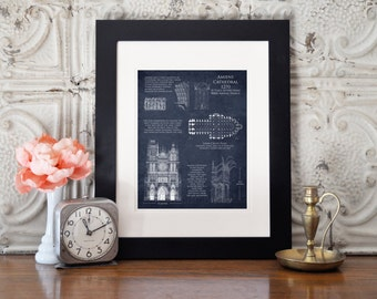 Amiens Cathedral blueprint art print, architectural blueprint, cathedral plan, french cathedral plan, french decor, religious art history