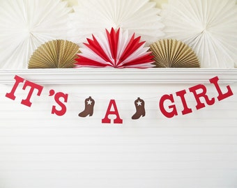 It's A Girl Banner - 5 Inch Letters with Boots - Cowgirl Baby Shower Cowboy Boot Banner Baby Girl Cowgirl Banner Little Cowgirl Shower Decor