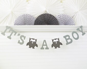 It's a Boy Owl Banner - 5 Inch Letters with Owls - Owl Baby Shower Decoration It's A Boy Banner Baby Banner Owl Its A Boy Garland Baby Owls