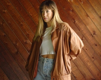 Brown Buttery Leather Ruched Bomber Jacket Coat - Vintage 70s - MEDIUM M
