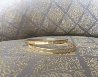 Mixed Texture Silver Gold Bangle Bracelet Set of 2 - Vintage 80s