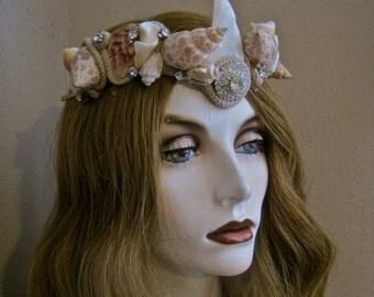 "Mermaid Crown V Headband Headpiece: ULA ""Sea Jewel"" Genuine Shells and Vintage Rhinestones V Shape WEAR 2 WAYS Natural Shell Golden Tiara"