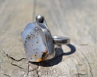 Chunky Heavy Dendrite Landscape Montana Series #123 Agate and Sterling Silver RING size 9.5