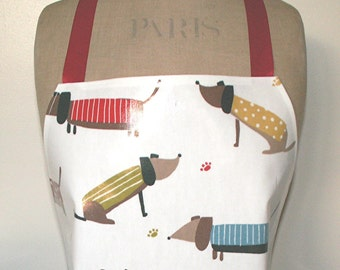 Dachshund PVC / Oilcloth Apron - Full Length Adult Apron - Wipe Clean Waterproof Apron - Sausage Dog Pinafore - Weiner Dog - Doxie